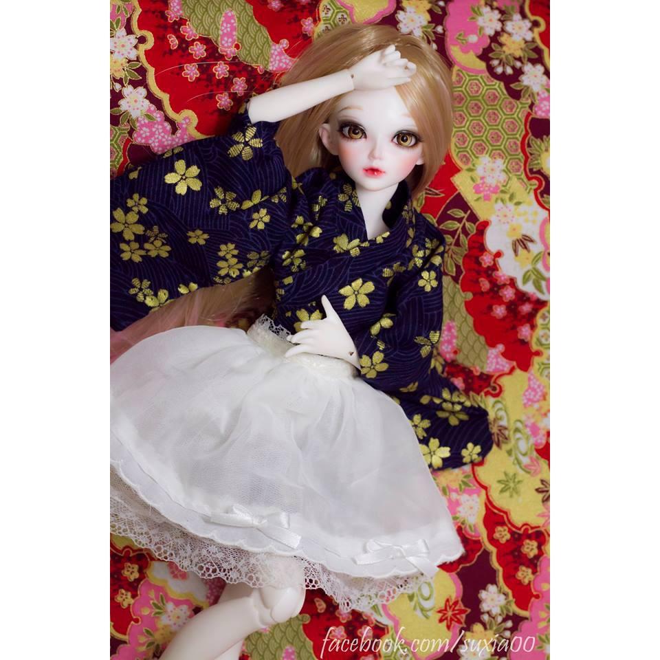yukata kết hợp chân váy thành waloli bjd