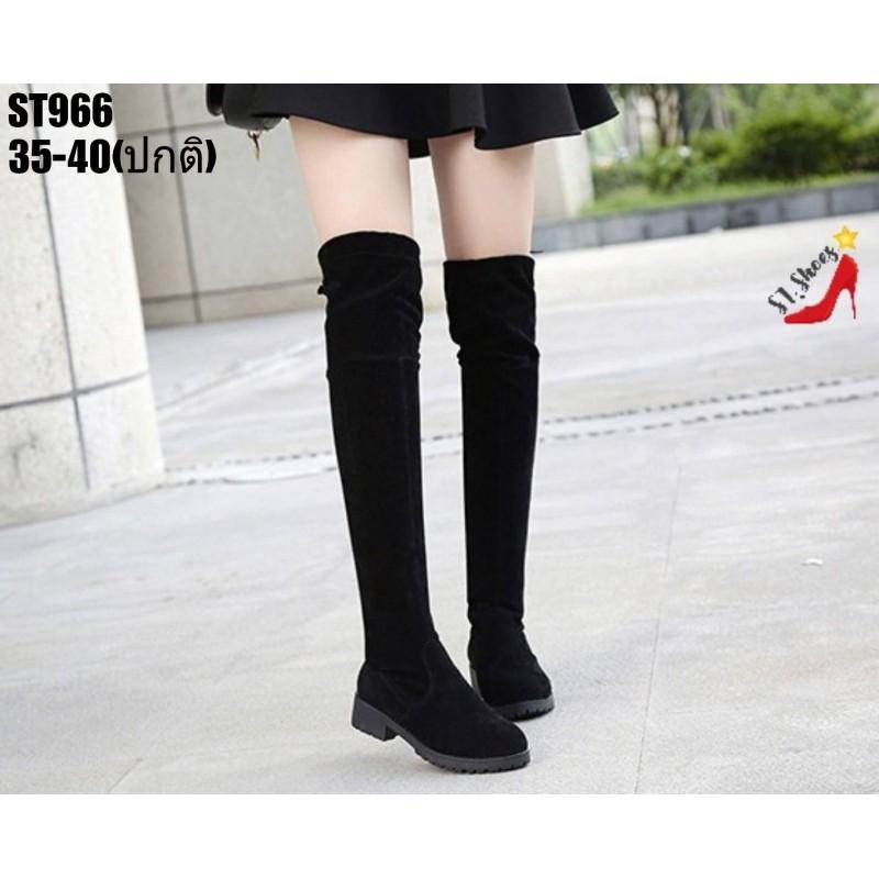 รองเท้าบูตแบบยาว ผ้ากำมะหยี่ขนสั้น ซับในเป็นผ้านุ่ม สีดำ