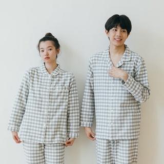 Xuất khẩu Nhật Bản! Bộ đồ ngủ mùa thu đông quần áo gia đình mùa thu đông Bộ đồ ngủ nam dài tay cotton nhung vải cotton