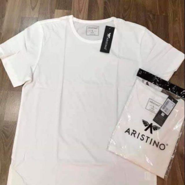 Áo Thun Nam Có tay ARISTINO màu trắng không cổ chất cotton cao cấp mềm mát thoát khí thấm hút mồ hôi Mã AC22