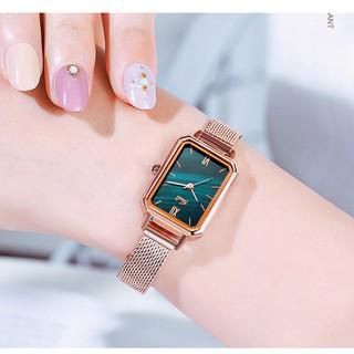 [Mã FASHIONRNK giảm 10K đơn 50K] Đồng hồ nữ Gedi hàng chính hãng dây da mặt chữ nhật đủ màu thumbnail