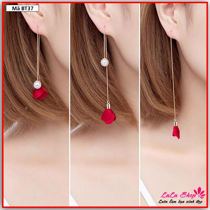 🔥 Khuyên tai dài đơn giản ngọc nhỏ thả rơi - Bông tai BT37