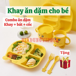[TRỌN BỘ] Khay ăn dặm Khay ăn cho bé lúa mạch cao cấp kèm cốc bát hình vịt con dễ thương an toàn trong lò vi sóng thumbnail