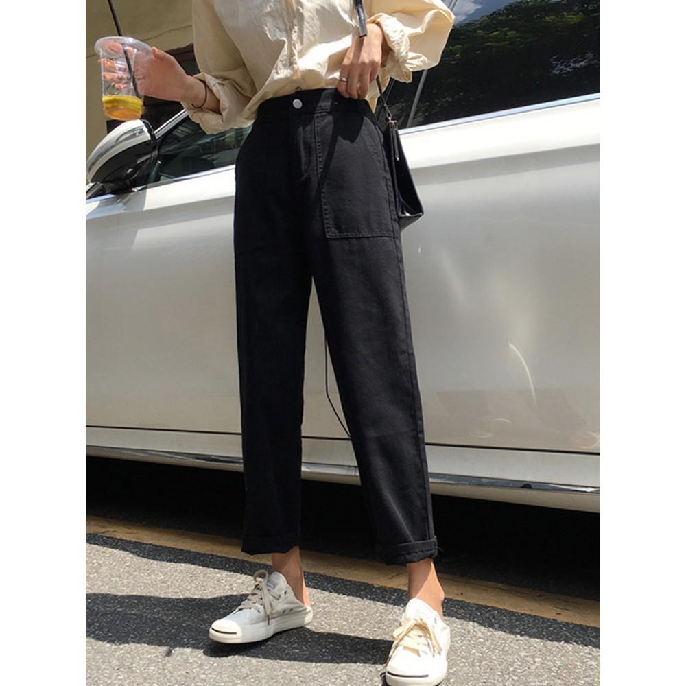 Jeans spring 2019 new wide leg pants student loose pocket elastic high waist bla