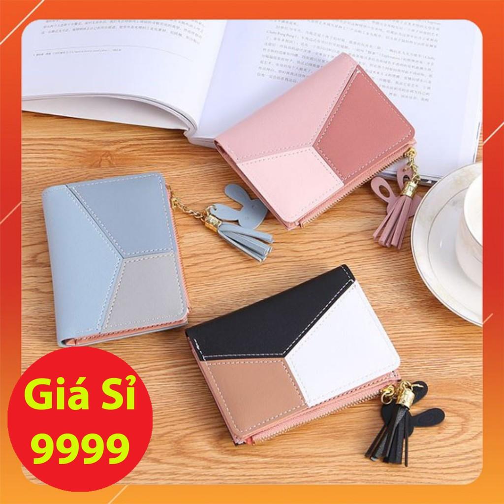 Ví/Bóp mini nữ cầm tay phối da 3 màu hàng Quảng Châu VMN08