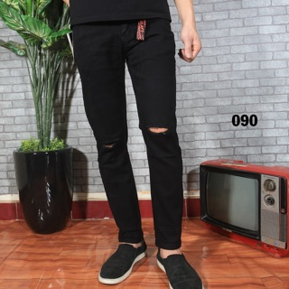 quần jean rách gối đen cao cấp