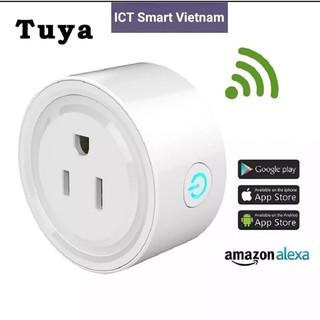 (Model 2021, đủ chức năng) Ổ cắm Wifi 10A 3 chân Tuya, work with Google & Alexa