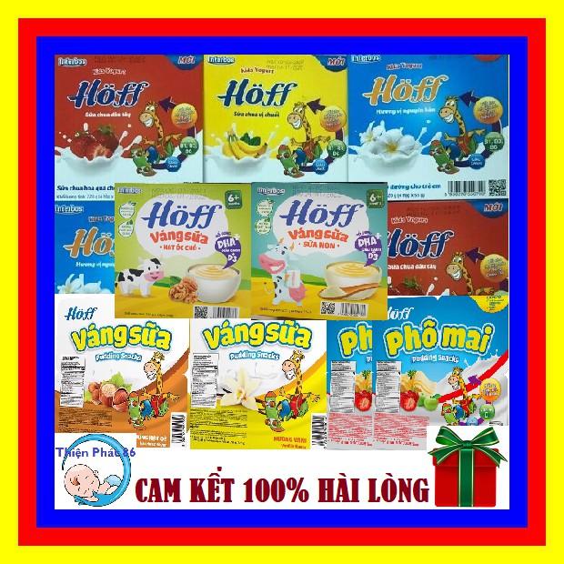 Sữa chua dinh dưỡng Hoff cho bé vỉ 4 hộp x 55g đủ vị Dâu/Táo/Chuối/Trắng (Date luôn mới)