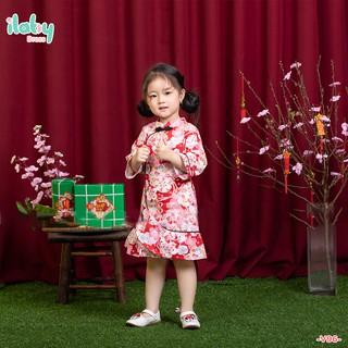 Váy sườn xám cho bé gái ILABY cách tân hiện đại chất thô cotton mềm mịn thoáng mát họa tiết hoa màu hồng, nhũ [V96]