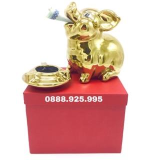 Lợn Sứ Mạ Vàng Cao Cấp