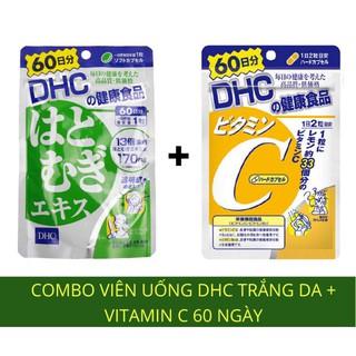 Combo Viên uống trắng da Adlay Extract lúa mạch và Vitamin C 60 ngày Nhật Bản