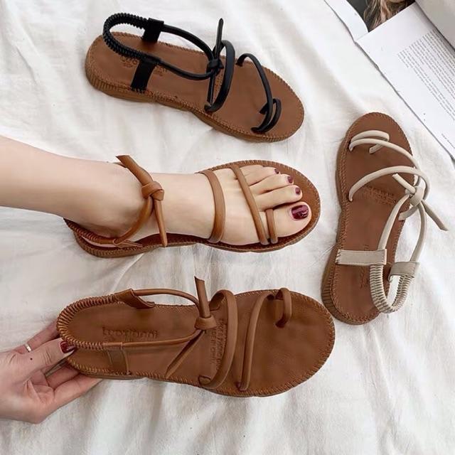 [Hàng Có Sẵn] Sandal Dây Mảnh Quai Ngang Style Hàn Quốc, Xăng Đan đi biển ( Kèm 1 Ảnh Thật Cuối )
