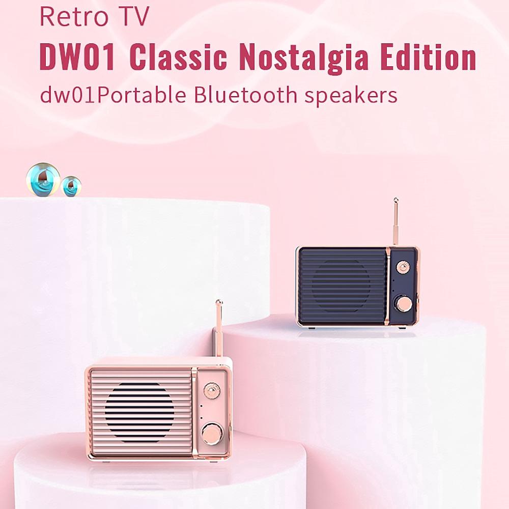 Loa bluetooth DW01 âm thanh nổi 3D HiFi Heavy Bass sạc pin USB thiết kế cổ  điển tiện lợi dùng tại nhà/khi đi du lịch - Loa Bluetooth