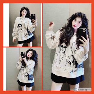 Áo Nỉ Cô Gái Tay Bồng Nữ [FREESHIP] Sweater form rộng oversize màu trắng in hình cá tính Ulzzang thumbnail