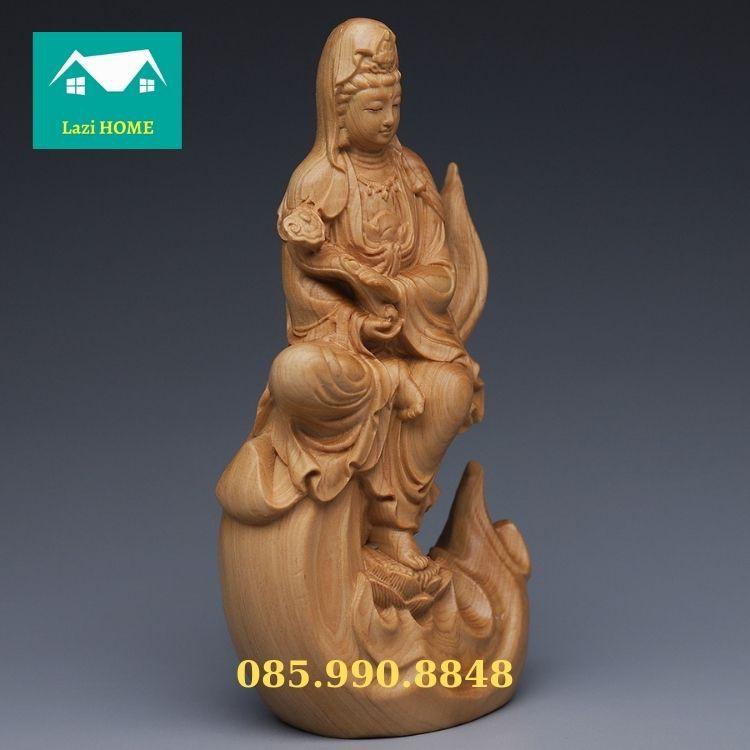 Tượng trang trí gỗ Hoàng Dương cao cấp, tượng phật phong thủy -M5 Phật bà ngồi trên ngọn lửa