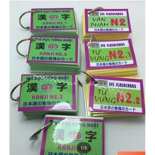 trọn bộ 7 thẻ flashcards n2 từ vựng kanji ngữ pháp