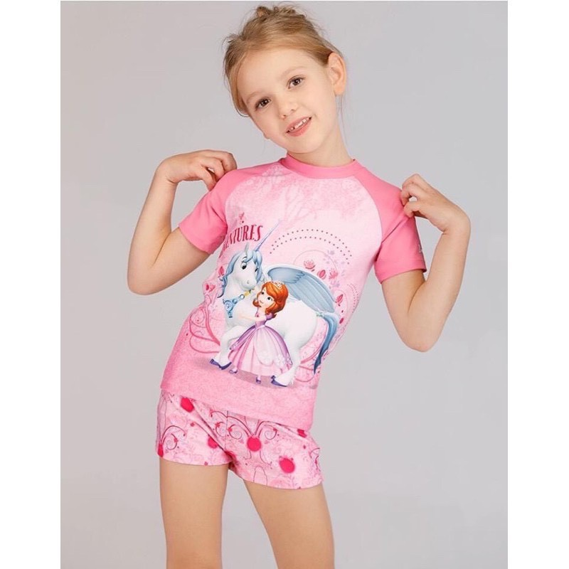 [ Size 12 - 48kg] Đồ bơi in hoạt hình cho bé gái - Đồ bơi elsa ngắn tay bé gái - KELLY WANG