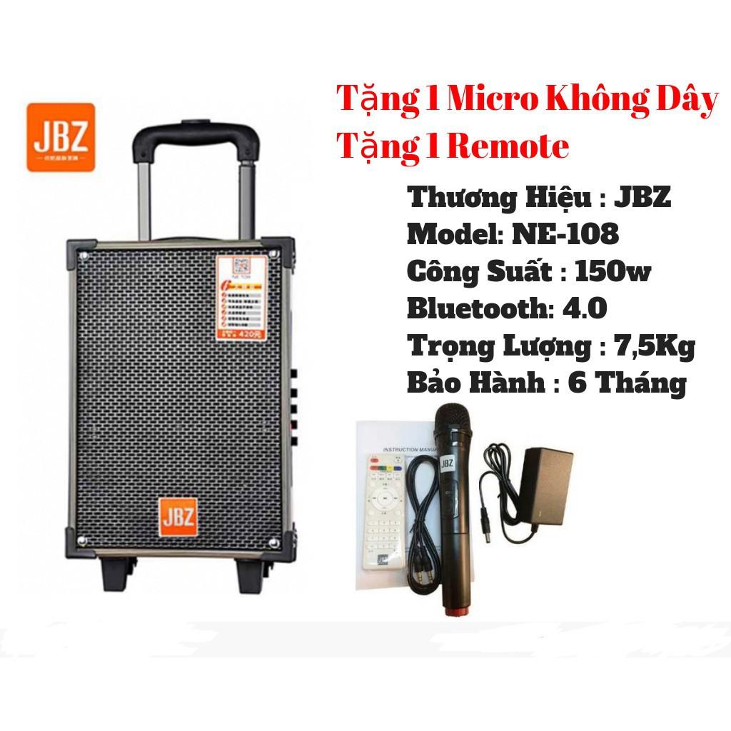 Loa Kéo Karaoke Bluetooth JBZ NE108 150W Bass 2 Tấc - BH 6 Tháng   Loa Di  Động JBZ NE108 - Tặng kèm míc không dây