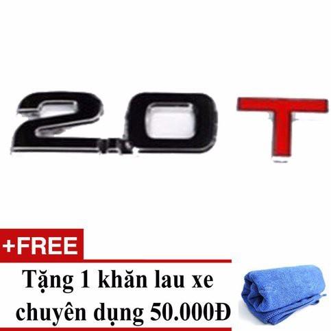 Decal dung tích ô tô 2.0T - Tặng 01 khăn lau xe chuyên dụng