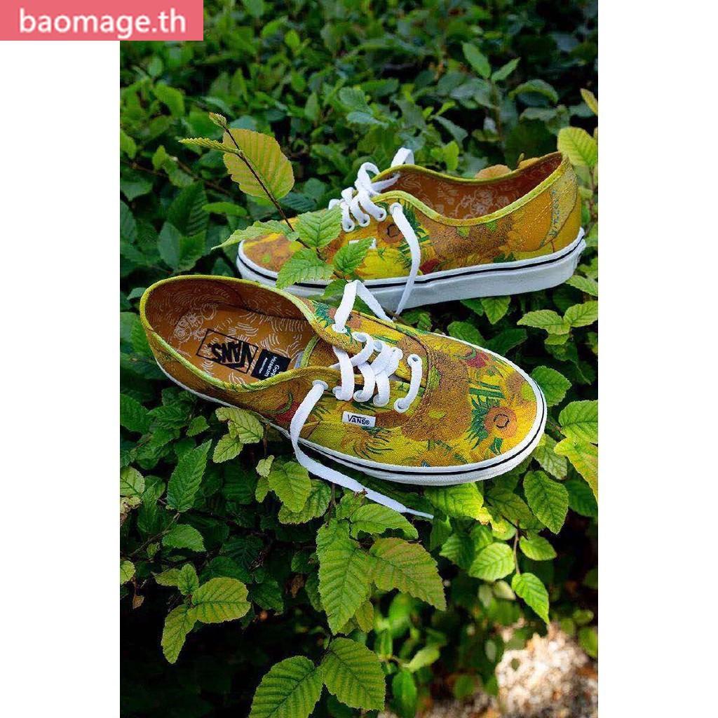 รองเท้าผ้าใบกีฬา Original VANS X Gogh museum fashion men women shoes สีเหลือง