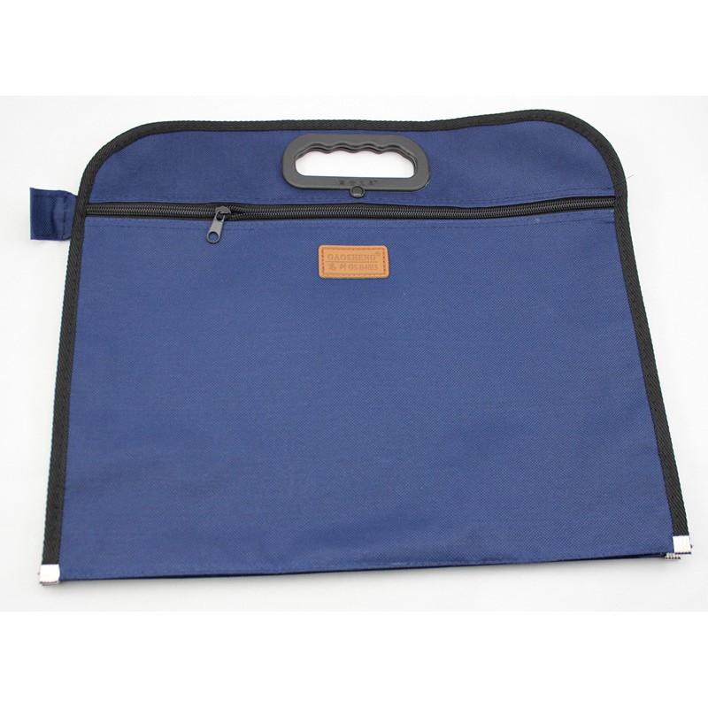 ซิปคู่ไฟล์หนากระเป๋ากระเป๋าเอกสารแบบพกพาความจุขนาดใหญ่กระเป๋าประชุมแทรกข้อมูลนาม