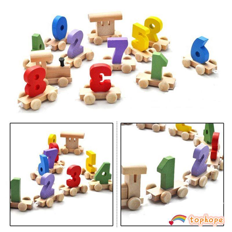 Train Figure Wooden Model Craft Kids Educational Toy Tophope❤