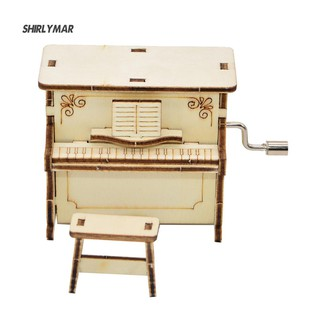 ஐSr DIY Wooden Piano Shape Music Box Hand Crank Musical Educational Kid Toy Gift