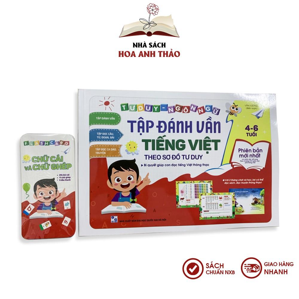 Sách - Tập đánh vần Tiếng Việt theo sơ đồ tư duy bé từ 4-6 tuổi kèm thẻ flashcard - Có thẻ