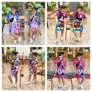 Đầm suông thun lạnh in 3D size nhí cho bé gái từ 10 đến 21kg - Đầm váy bé gái - FREESHIP