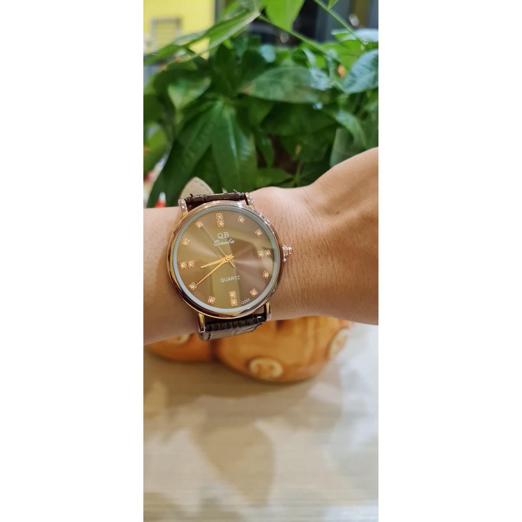 Đồng hồ dây da QB253 rẻ, đẹp, sang trọng