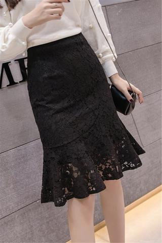 Váy lửng ren váy đuôi cá dài vừa kiểu mới mùa thu tôn dáng eo caoAVáy Ngắn ngực bèo
