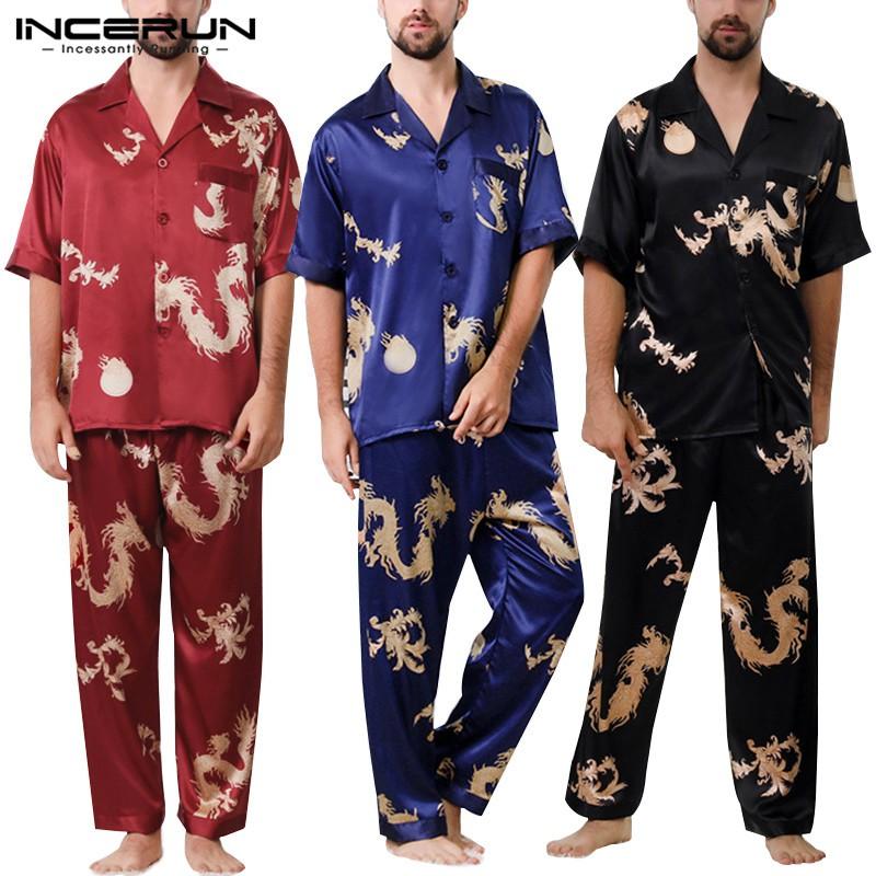 Áo ngủ ngắn tay bằng lụa satin in họa tiết rồng dành cho nam
