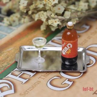 lof-bt Dollhouse Miniature Accessories Mini Wine and tray Set Simulation Drink Model