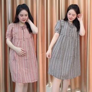 Váy bầu mùa hè Dáng Baby kẻ ô bèo ngực MOLYS 307, thiết kế phù hợp cho mẹ bầu, chất liệu mát mẻ dễ vận động thumbnail