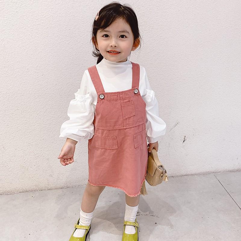 Set Áo Thun Dài Tay Cổ Tròn+chân Váy Yếm Thời Trang Hàn Cho Bé 2020