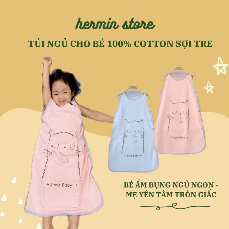 Túi ngủ trẻ em cao cấp chất cotton sợi tre - túi ngủ cho bé tránh đạp chăn, nhiễm lạnh