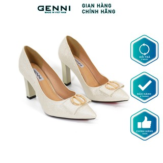 Giày cao gót kim loại nhũ xước nơ 7p GE418 - Genni