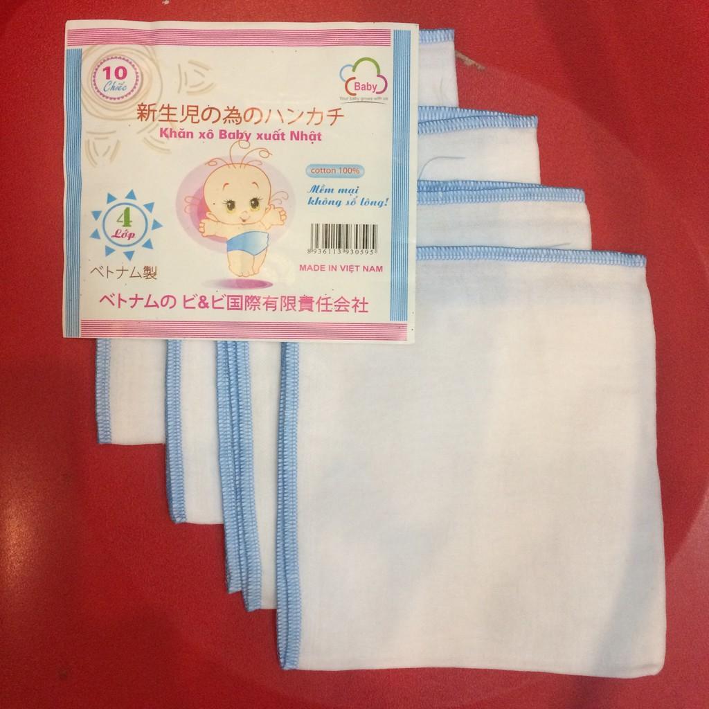 Gói 10 khăn xô baby xuất Nhật 4 lớp siêu mềm