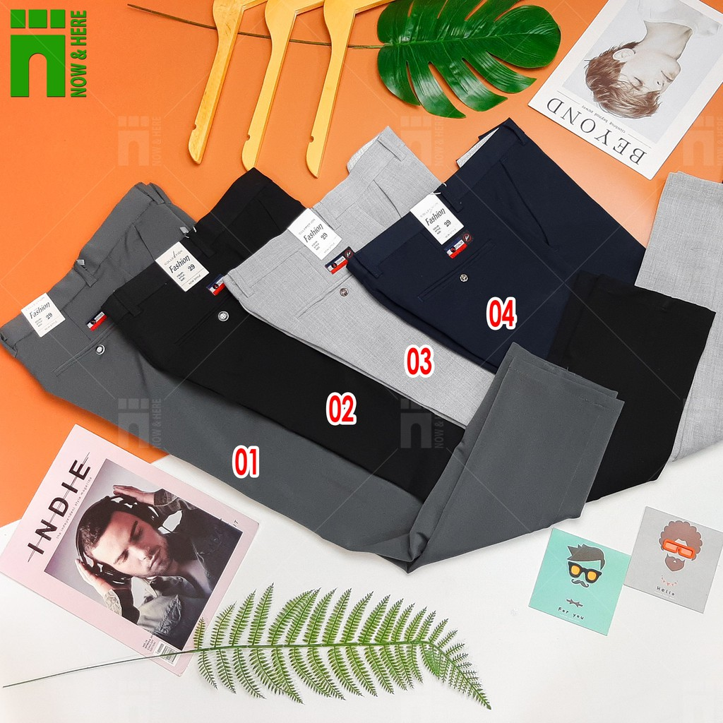 Quần tây nam chất vải dày dặn co giãn nhẹ, quần âu dạng ống côn, nhiều màu - NH Shop