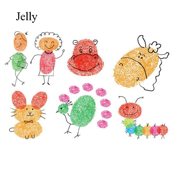 8pcs Craft Finger Ink Pad Inkpad for Paper Kids Fingerprint Painting Random J219