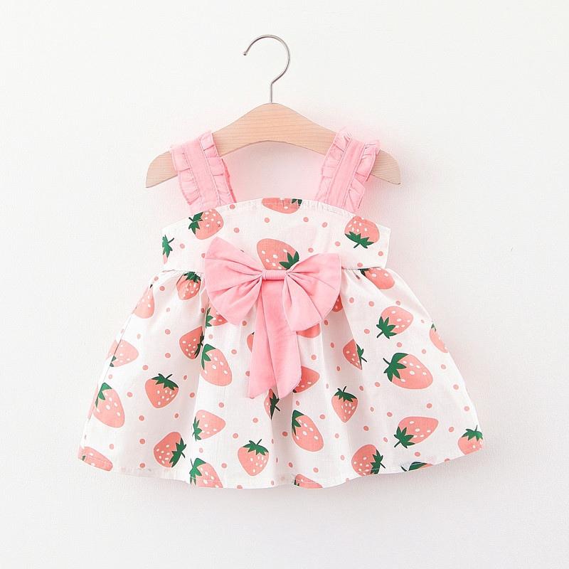 Đầm dây in hình trái dâu dễ thương đính nơ xinh xắn cho bé gái