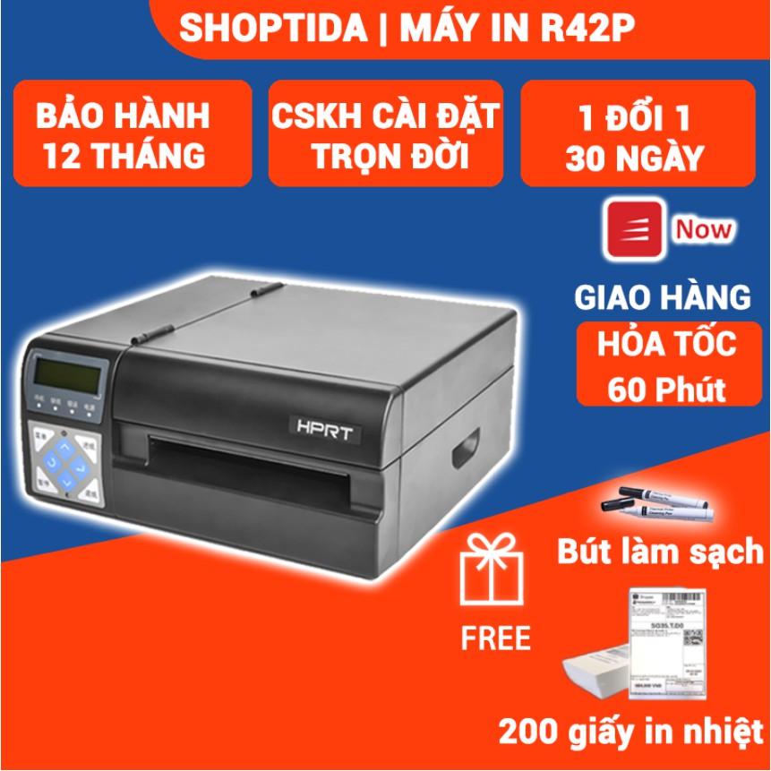 Máy in nhiệt công nghiệp HPRT R42P in đơn hàng, đơn gửi, mã vạch, logo tự dán tốc độ cao thumbnail