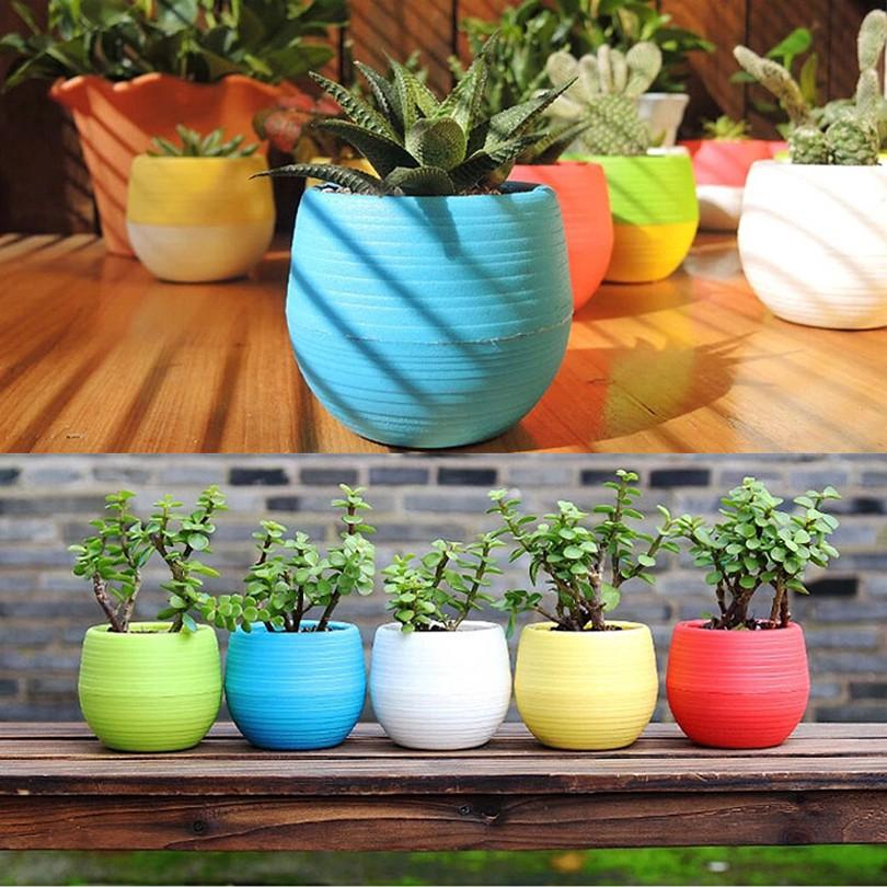 Colorful Round Plastic Plant Pots