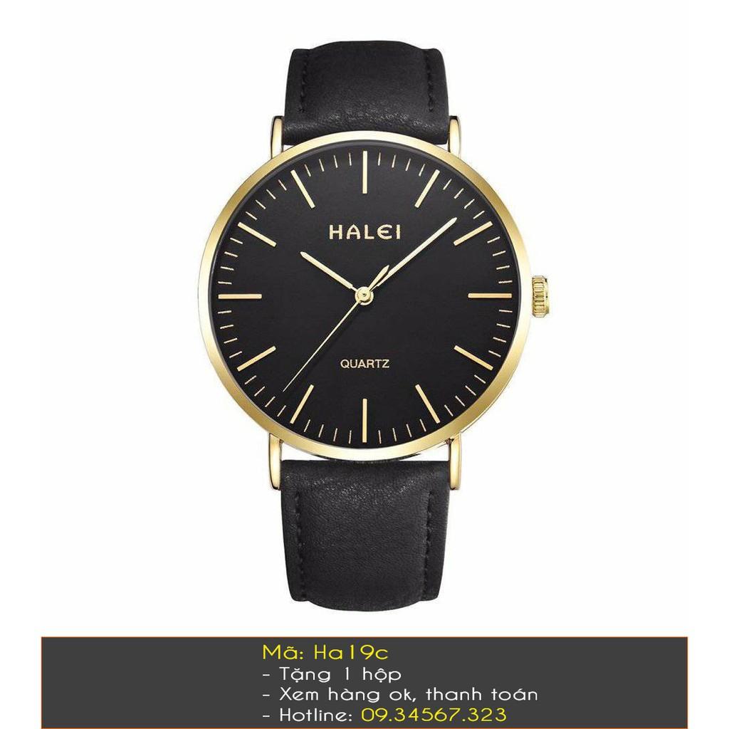 Đồng hồ đôi Halei nam nữ dây da mặt vạch Tặng Hộp Tặng 2 Pin Dự Phòng