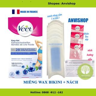 Miếng wax veet Tẩy lông nách, tẩy lông Bikini VEET Wax Strips 16 Da Nhạy Cảm Veet Anvishop thumbnail