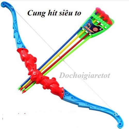 Bộ đồ chơi cung tên có đầu bắn hít dính tường (loại to đẹp 60cm)