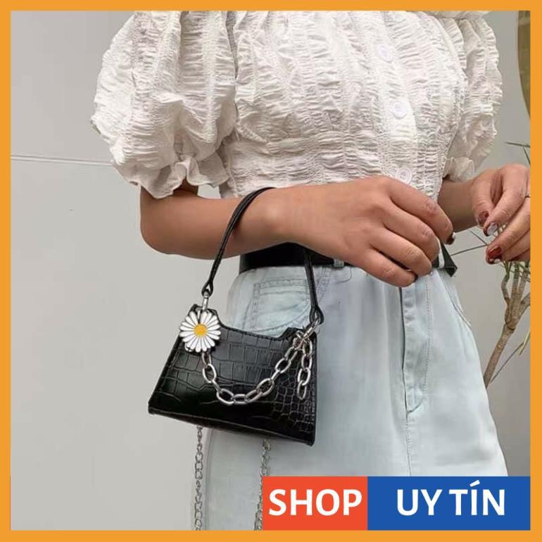 Túi mini hoa cúc túi mini cầm tay so kute da vân cá sấu hàng đẹp TNKNA05