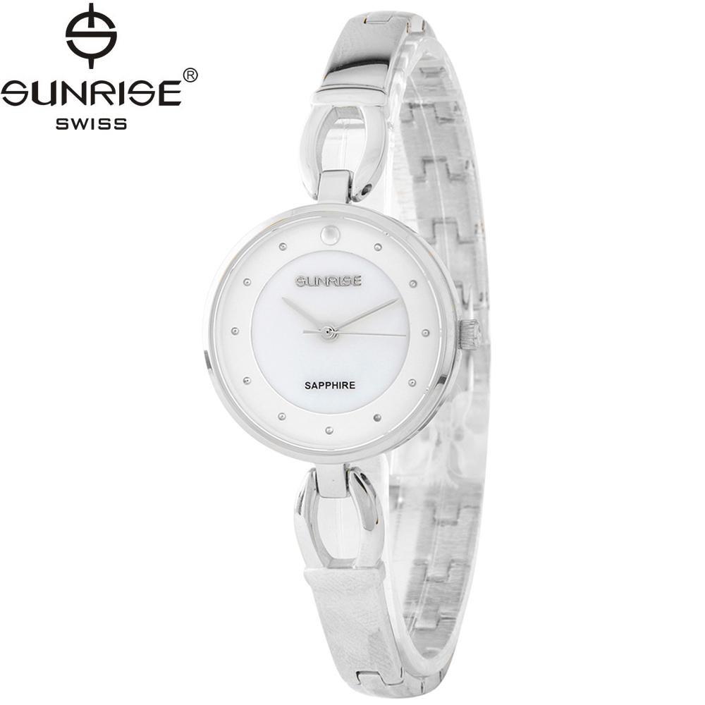 Đồng hồ nữ dây kim loại mặt kính sapphire chống xước Sunrise SL723LS