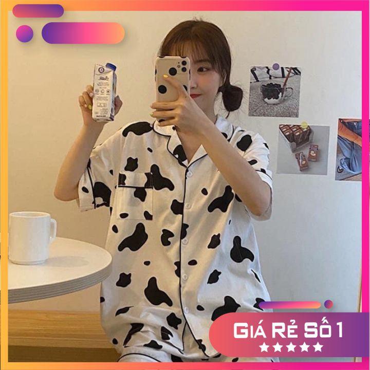 66HOAN15K0H_Hoàn 15k đơn 99k_Bộ Pijama Ngắn Tay - Bộ Ngủ Bò Sữa Ulzzang Cute Hot Trend 2021