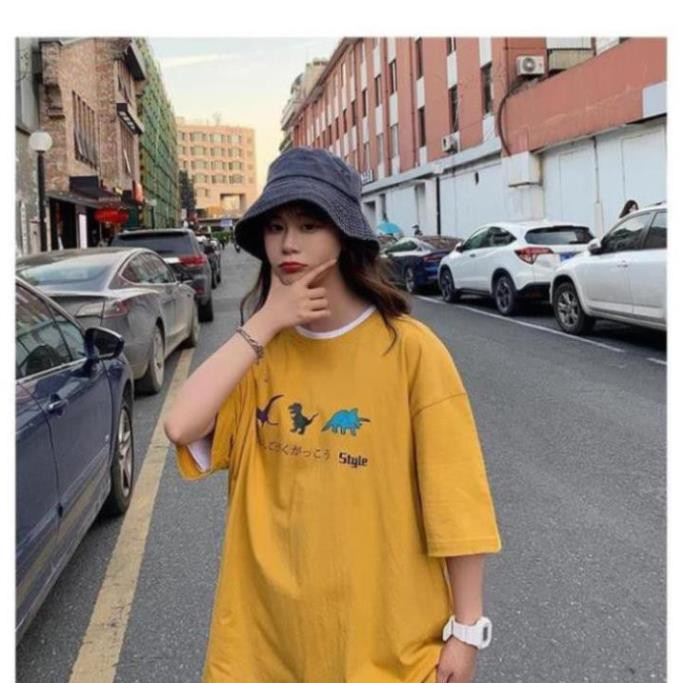 1hitshop áo thun tay lỡ Unisex, áo phông form rộng, áo phông in hình 3 chú khủng long
